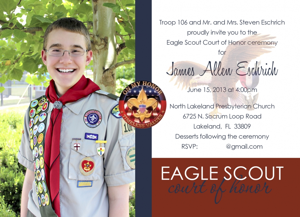 Eagle Scout Invitations Eagle Scout Court of Honor